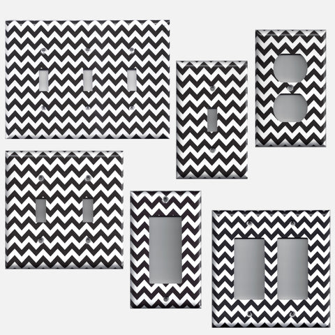 Black Chevron Pattern Light Switch Plates & Outlet Covers Handmade Home Decor - Simply Chic Gal