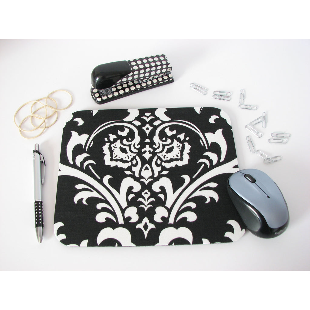 Black and White Damask Print Cute Mouse Pad Handmade Office Desk Decor- Simply Chic Gal