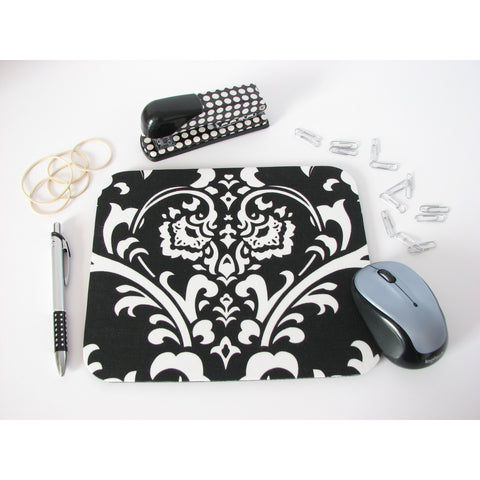 Black and White Damask Print Mouse Pad Office Desk Decor Teacher Gift or Coworker Gift