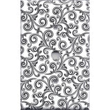 Black & White Filigree Swirls Cable Jack Cover- Handmade Home Decor- Simply Chic Gal