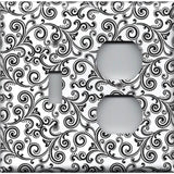 Black & White Filigree Swirls Combo Toggle Light and Outlet Cover