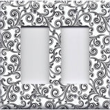 Black & White Filigree Swirls Double Rocker Decora GFI Outlet Cover- Handmade Home Decor
