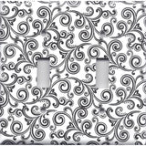 Black & White Filigree Swirls Double Toggle Light Switch Cover- Handmade Home Decor- Simply Chic Gal