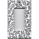 Black & White Filigree Swirls Single Rocker Decora GFI Outlet Cover- Handmade Home Decor