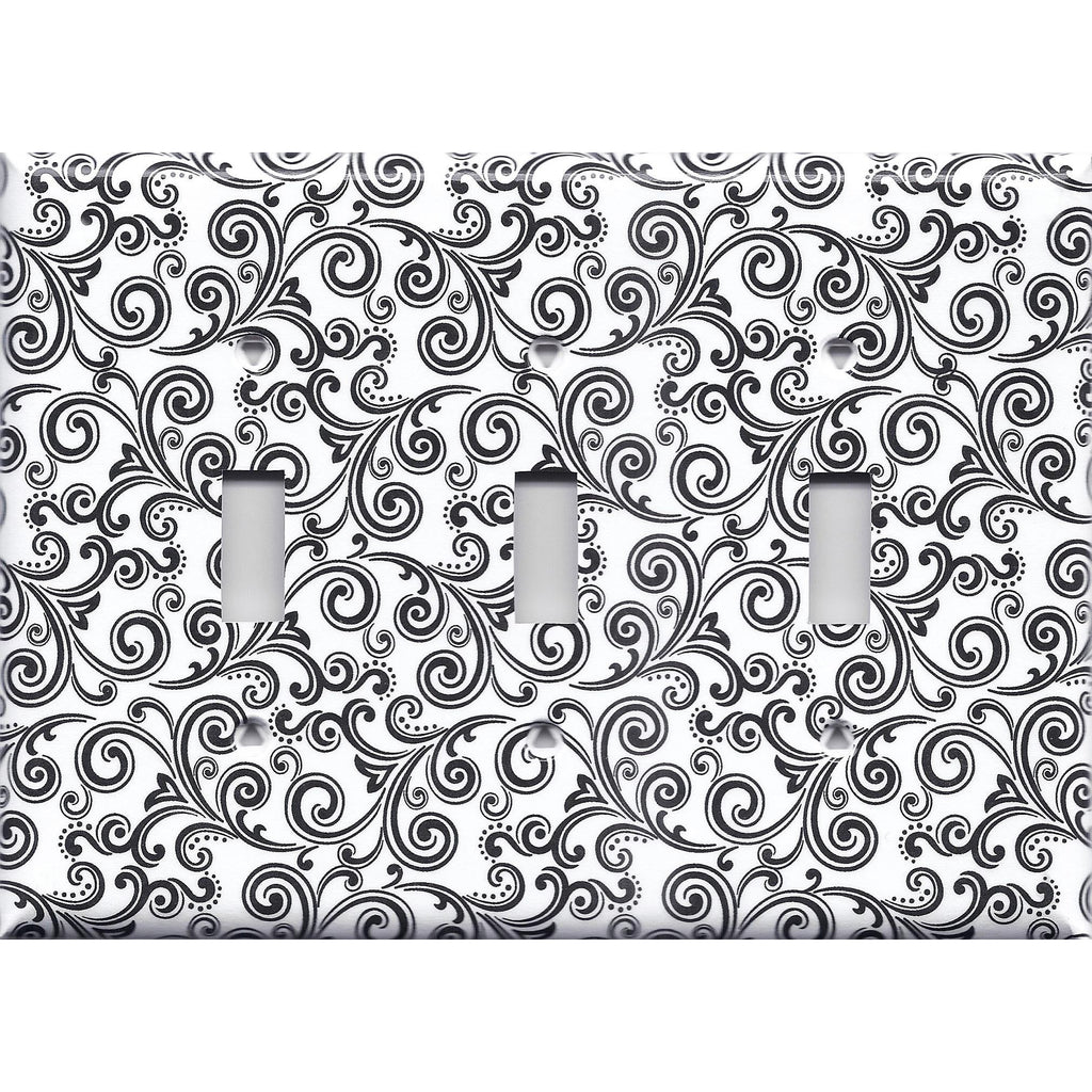 Black & White Filigree Swirls Triple Toggle Light Switch Cover- Handmade Home Decor- Simply Chic Gal