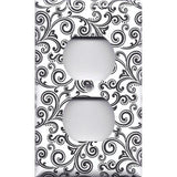 Black & White Filigree Swirls Wall Outlet Cover- Handmade Home Decor- Simply Chic Gal