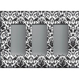 Black and White Damask Triple Rocker Decora GFI Outlet Cover- Handmade Home Decor- Simply Chic Gal