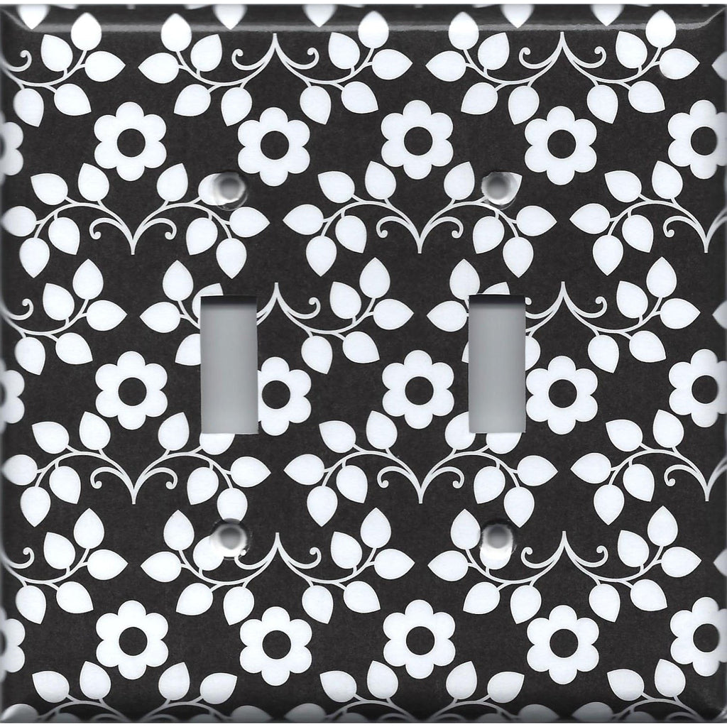 Double Toggle Light Switch Cover in Black and White Retro Floral Print