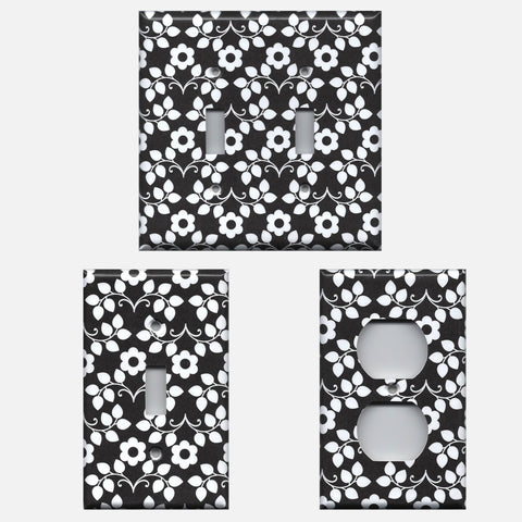 Black and White Retro Floral Light Switch Plates and Wall Outlet Covers; Fun Flower Light Switch Covers