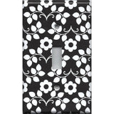 Black & White Retro Floral Pattern Single Light Switch Cover- Handmade Home Decor- Simply Chic Gal