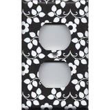 Black & White Retro Floral Pattern Wall Outlet Cover- Handmade Home Decor- Simply Chic Gal