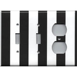 Combo 2 Light and Outlet Cover in Black and White Wide Stripes Handmade- Simply Chic Gal