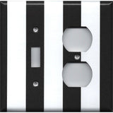 Black and White Wide Stripes Combo Light Switch and Outlet Cover- Handmade Home Decor