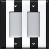 Double Rocker Decora Cover in Black and White Wide Stripes