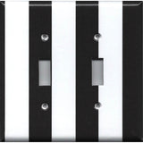 Double Light Switch Plate Cover in Black and White Wide Stripes Handmade- Simply Chic Gal