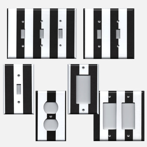 Black and White Wide Vertical Stripes Light Switch Plates and Wall Outlet Covers