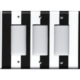 Triple Rocker Decora Cover in Black and White Wide Stripes