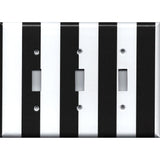 Triple Toggle Light Switch Cover in Black and White Wide Stripes