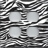 4 Plug Outlet Cover in Zebra Stripes Black & White Animal Print