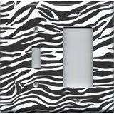 Combo Light Switch and Rocker Cover in Zebra Stripes Black & White Animal Print