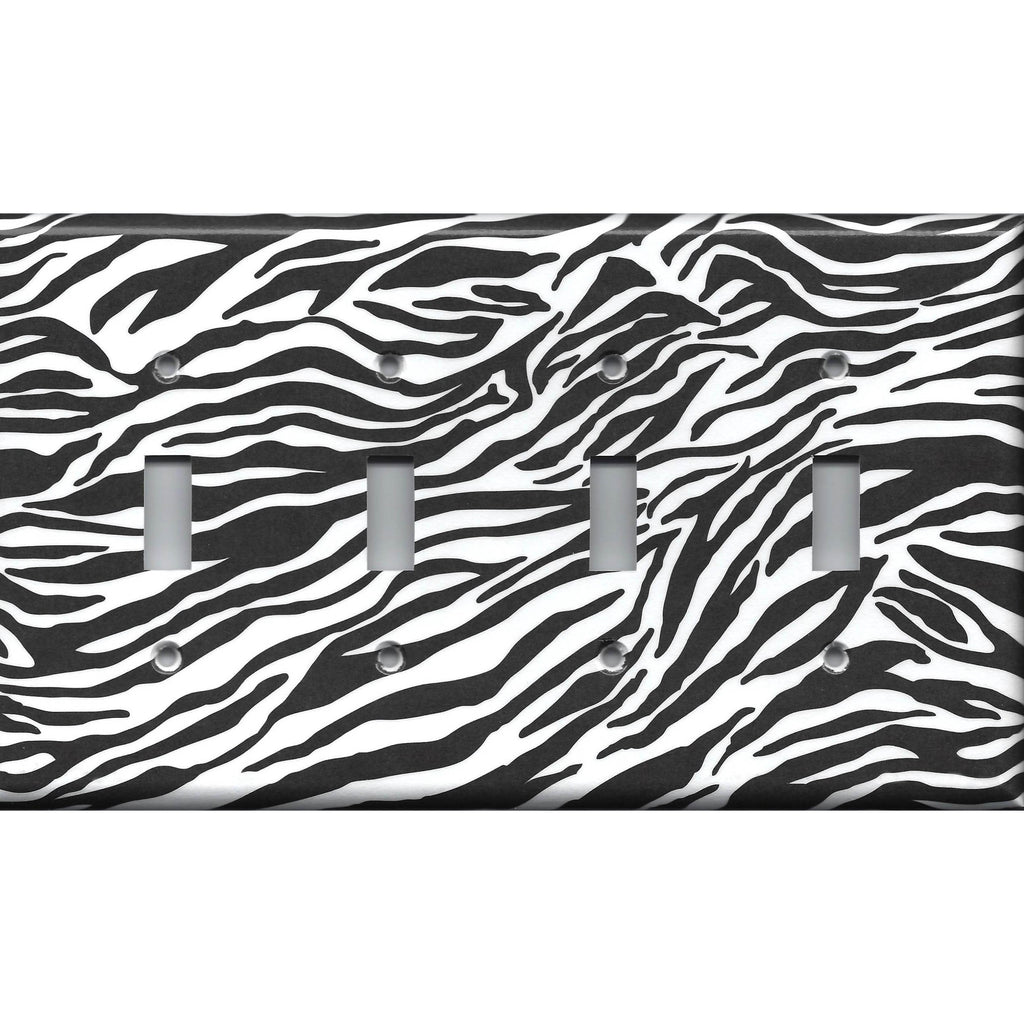 Quad Toggle Light Switch Cover in Zebra Stripes Black & White Animal Print