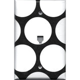 Black with Big White Polka Dots Phone Jack Cover- Handmade Home Decor- Simply Chic Gal