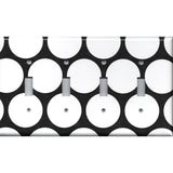 Black with Big White Polka Dots Quad Toggle Light Switch Cover- Handmade Home Decor- Simply Chic Gal