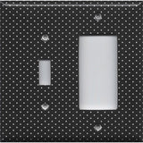 Combo Light Switch and Rocker Cover in Black and White Tiny Polka Dots