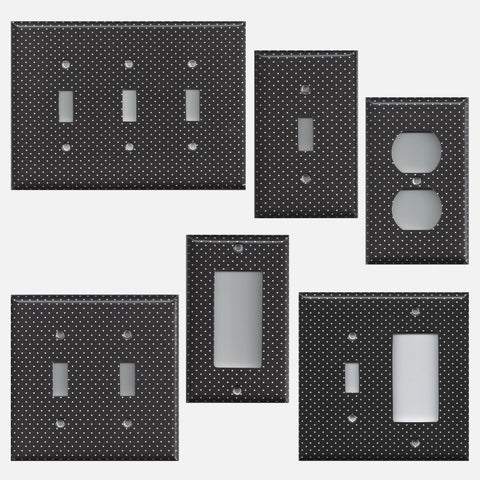 Black and White Tiny Polka Dots Light Switch Covers & Outlet Covers