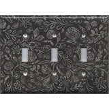 Triple Light Switch Cover in Faux Chalkboard Flowers Farmhouse Decor