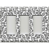 Triple Rocker Decora Light Switch Cover in Black and White Swirls