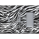 Combo 2 Light Switch and Rocker Cover in Zebra Stripes Black & White Animal Print