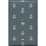 Phone Jack Cover in Blue-Gray Beach House Nautical Anchors