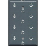 Single Blank Cover in Blue-Gray Beach House Nautical Anchors