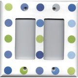 Double Rocker Decora Light Switch Cover in Blue & Green Polka Dots Hand Made