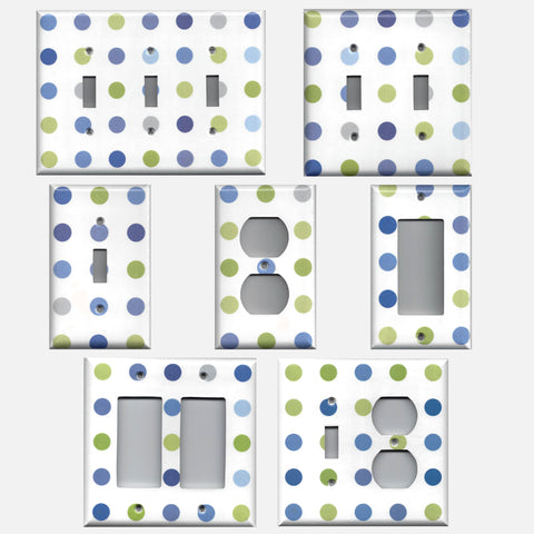 Blue & Green Polka Dots Hand Made Light Switch Covers & Outlet Covers
