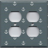 4 Plug Outlet Cover in Blue-Gray Beach House Nautical Anchors