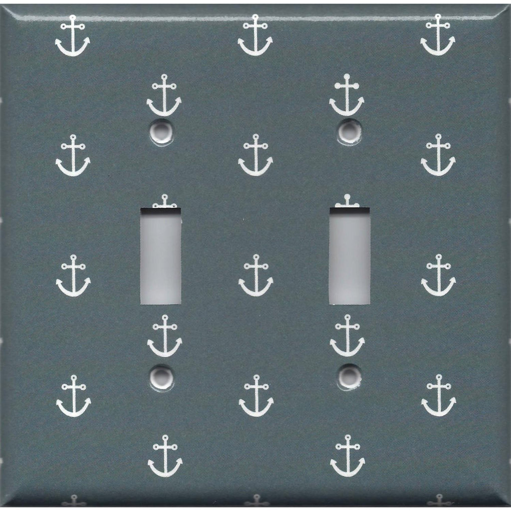 Double Toggle Light Switch Plate Cover in Blue-Gray Beach House Nautical Anchor
