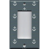 Single Rocker Decora GFI Outlet Cover in Blue-Gray Beach House Nautical Anchor