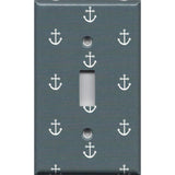 Single Toggle Light Switch Plate in Blue-Gray Beach House Nautical Anchors