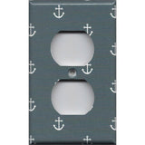 Wall Outlet Plate Cover in Blue-Gray Beach House Nautical Anchors