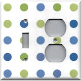 Combo Toggle Light Switch and Outlet Cover in Blue & Green Polka Dots