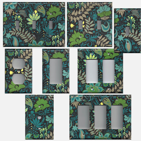 Peacock Floral Brocade Blue Green Handmade Light Switch Plates & Outlet Covers- Simply Chic Gal