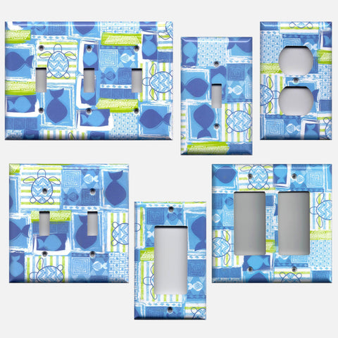 Blue Tropical Island Fish & Sea Turtles  Light Switch & Outlet Covers