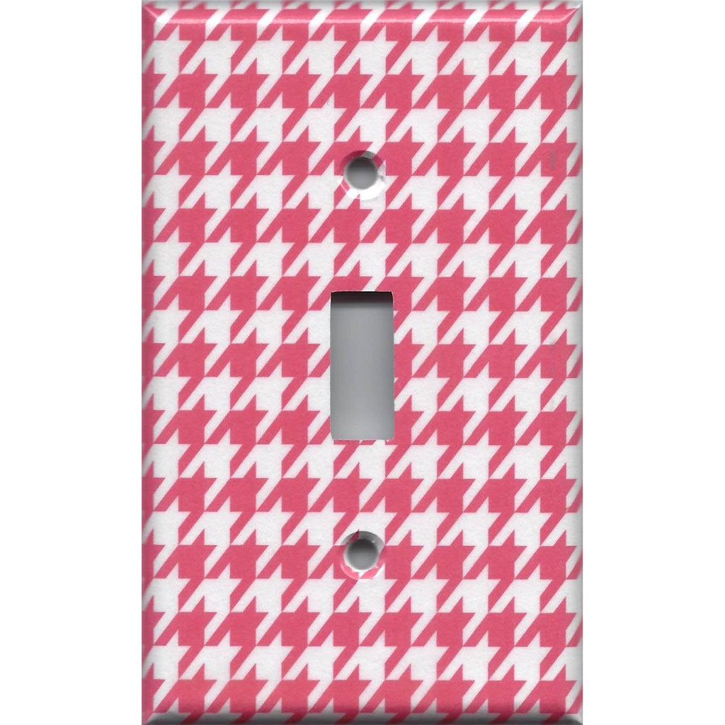 Blush Pink Houndstooth Single Toggle Light Switch Cover