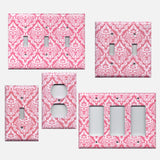 Rose Pink & White Intricate Damask Light Switch Plate & Outlet Covers
