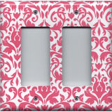 Double Rocker Decora Light Switch in Blush Pink & White Floral Damask Handmade- Simply Chic Gal