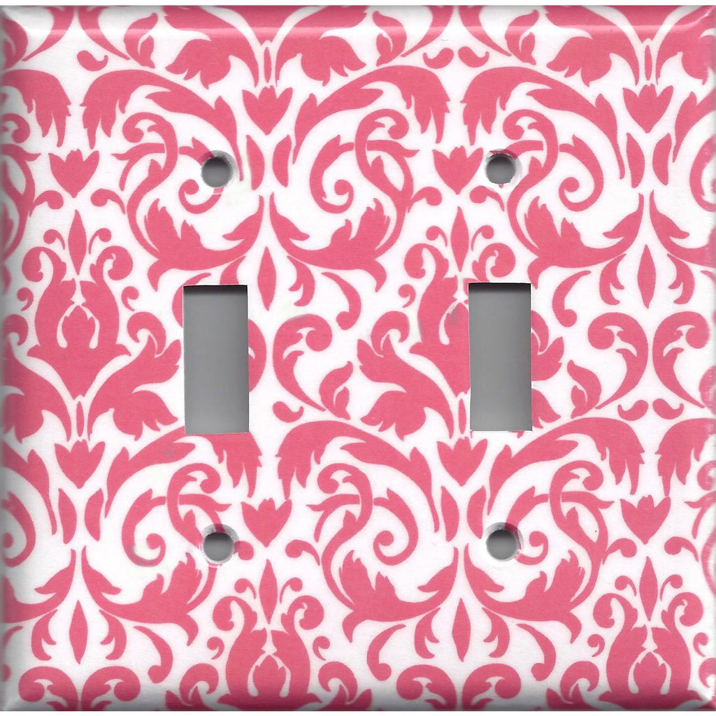 Double Light Switch Plate Cover in Blush Pink & White Floral Damask Handmade- Simply Chic Gal