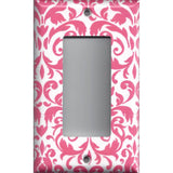 Single Rocker Decora GFI Outlet Cover in Blush Pink & White Floral Damask Handmade- Simply Chic Gal