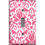 Single Light Switch Plate Cover in Blush Pink & White Floral Damask Handmade- Simply Chic Gal